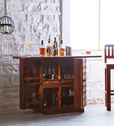 Driftingwood Bar Cabinet in Honey Oak Finish