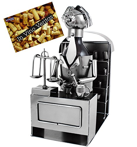 BRUBAKER Weinflaschenhalter Apotheker Metall Skulptur inklusive Geschenkkarte