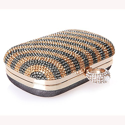 Le nuove increspature d'acqua mini Pochette sposa femminile del sacchetto chiusura anello borsa borsa banchetto diamante borsa di sera ( Colore : Blu ) Grigio