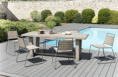 MACABANE 509013 Salon de Jardin Couleur Gris en Teck et Acier Dimension 200cm X 90cm X 75cm
