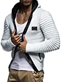 LEIF NELSON Herren Strickjacke Pullover Jacke Hoodie mit Nieten Sweatshirt Biker-Style Gesteppt Schalkragen LN5170; Größe S, Ecru-Grau