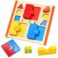 Nuheby Wooden Shape Sorter Peg Puzzle Jigsaw Toys Gigsaw Geometric Shapes Color Game 12 PiecesEducational Boys Girls Toys for 3 4 5 6 Year Olds Kids