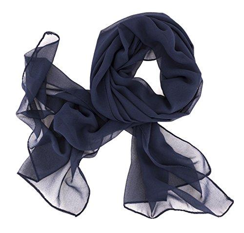 Dolce Abbraccio Damen Schal Stola Halstuch Tuch aus Chiffon für Frühling Sommer Ganzjährig Dunkelblau Blau