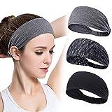 GoHZQ 3 Stück Frauen Sport Stirnband Anti Rutsch elastische Sport Stirnband Sport Wicking Stirnband kommt mit Cross Design Frauen Schweißband absorbierende Feuchtigkeit für Yoga, Basketball (Style 4)