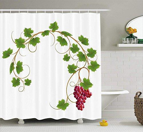 Grape Ivy (JIEKEIO Grapes Home Decor Shower Curtain, Curved Ivy Branch Deciduous Woody Wines Seed Clusters Cabernet Kitchen, Fabric Bathroom Decor Set with Hooks,60 * 72inch, Green Purple)