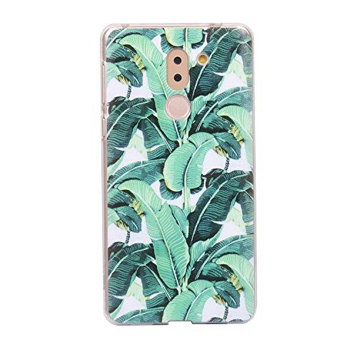 Preisvergleich Produktbild Honor 6X Hülle,  Anlike Huawei Honor 6X (5, 5 Zoll) Handy Hülle [Bunte Muster Design] Schutzhülle Etui Bumper für Huawei Honor 6X (5, 5 Zoll) - Grüne Blätter