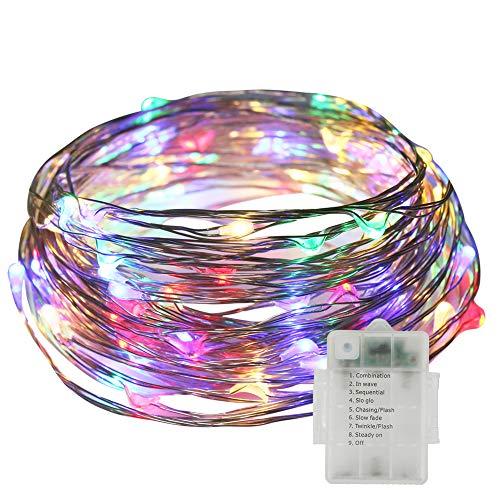 Stringa luci led, neoperlhk catena luci decorative 10m 8 giochi di 100 luci led filo di rame impermeabile ip65 da esterno con telecomando giardino natale matrimonio piscina rgb - luci colorate