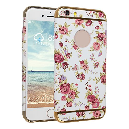 "iPhone 6S Hülle Case, iPhone 6 6S Hart PC, Asnlove 3 in 1 Hülle Bumper Cover PC Plastik Harte Schutz Tasche Schale Hardcase Ultra Slim Schutzhülle Design Blume della Rose für Apple iPhone 6/6S (4,7"")- Color-6"