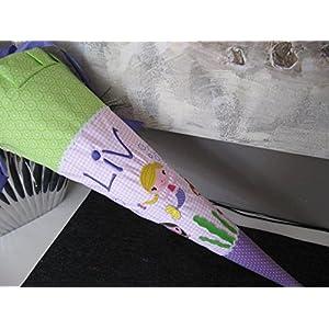 #67 Meerjungfrauen lila-rosa-grün Schultüte Stoff + Papprohling + als Kissen verwendbar