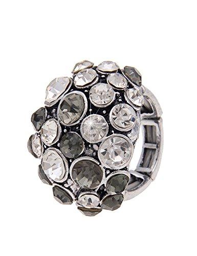 tzer-Statement Statementring XXL Ring Modeschmuck-Ring mit Strass Größe dehnbar in Silber Grau ()