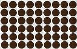 KwikCaps® PVC Nussbaum Tabak Selbstklebende Schrauben-Abdeckungen Abdeckkappen Nägel Cam flach [54 Stk. x 20 mm Durchmesser]