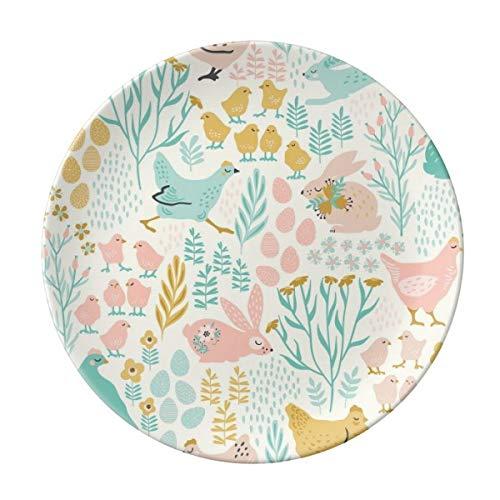 VunKo Ostertag Bunny Teller Keramik Essteller Geschirr Steingut Home Decro Runde Dessertteller Dessertteller - Runde Set, China Schrank