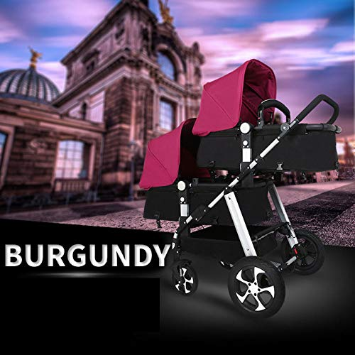 GHH Double Strollers Baby Pram Tandem Buggy Newborn Pushchair Ultra Light Folding Child Shock Absorber Trolley Can Sit Half Lying 0-3 Years Old(Maximum Loadable 50Kg Baby),Platinum/red CBDFG