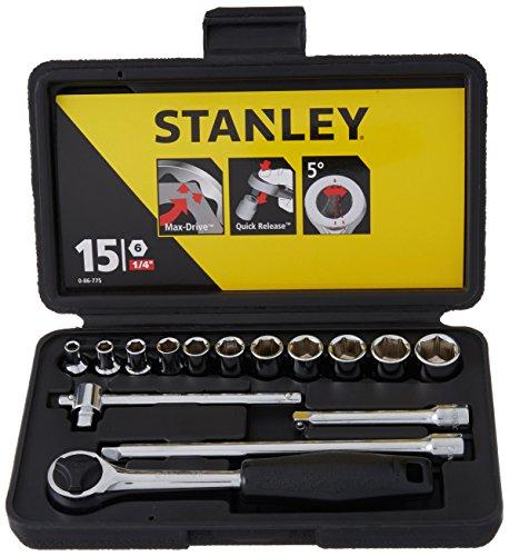 Stanley Steckschlüsselsatz (1/4 Zoll 15 teilig, Umschaltknarre mit Schnellauslösung, verchromt, komfortabler Griff) 0-86-775