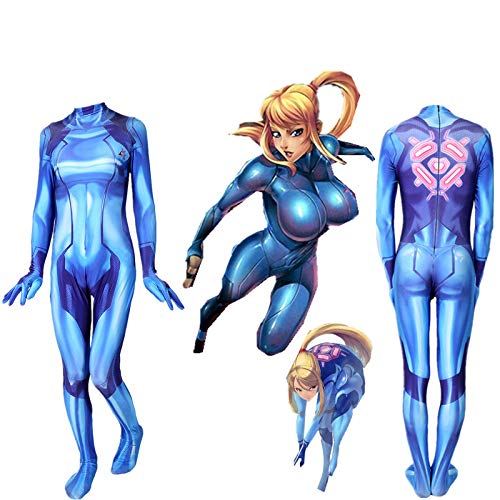 Samus Kostüm Cosplay - YIWANGO Galaxy Warrior Bodysuit Samus Zero Kostüm Cosplay Strumpfhose Cosplay Kostüm,Child-M