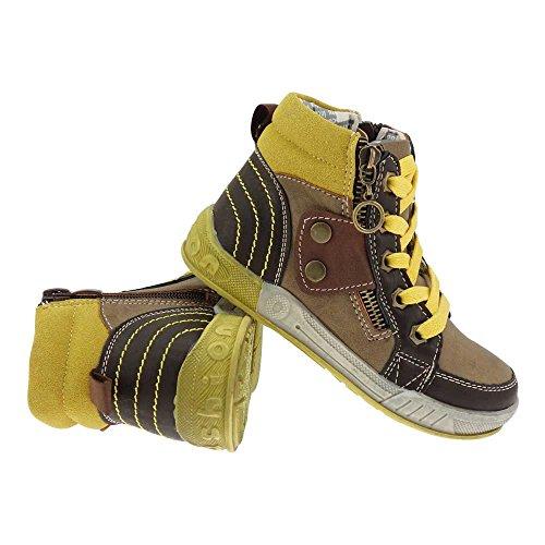 GALLUX - Kinder hohe Sneaker coole Schuhe mit Reißverschluss Applikation Braun