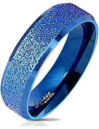 Paula & Fritz®, anello in acciaio inox, anello da donna, anello di fidanzamento, anello dell'amicizia, anello per signore, anello per partner, blu, nero, argento lucido con angoli arrotondati