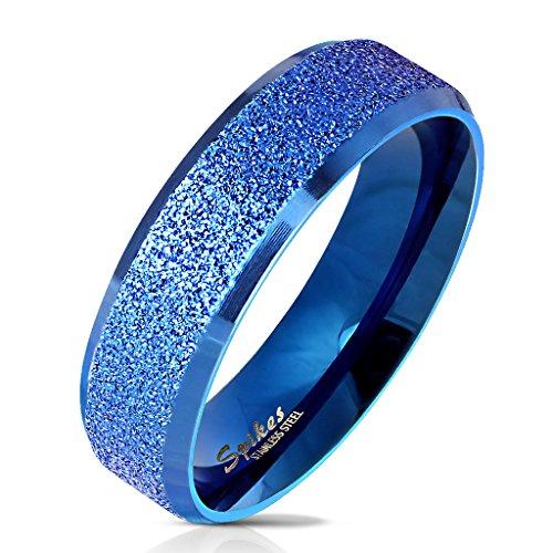 Paula & Fritz Sandgestrahlter Edelstahlring Damen-ring Verlobungs-ring Freundschaftsring Herrenring Partnerring blau polierte abgerundete Kanten 61 (19.5)