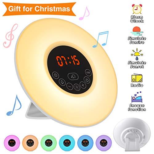 Elfeland Wake Up Light Despertador Luz de Noche (Radio FM, Función Amanecer, Puesta del sol Función, 10 Niveles de DIMM, 6 Natural Sounds, 7 Auto Colores) Ideal para Hogar Dormitorio Regalo EU Plug