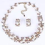 Best Bling collares de diamantes de joyería - Rosa De Oro Imitación Perla Collar De Cristal Review