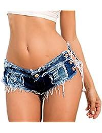 Y-BOA Short Mini Lacet Jean Denim Femme Fille Hot Pantalon Court Rétro Vintage