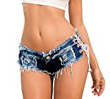 La Vogue Pantalones Corto Mujer Vaquero Ajustable Mini Shorts para Verano Azul S