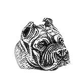 Beydodo Titan HerrenRing Punk Bulldogge Hund Freundschaftsring Silber Ring Gr.54 (17.2)