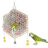 Sharplace Papageien Spielzeug Vögel Kauspielzeug mit Glocken aus Bambus und Papier