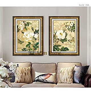 ABM Home -Flowers (51cm x 66cm/each Frame/2 pcs frame) Wall Art, Large Wall Picture Frame, Vintage Style,Framed Canvas, Large Poster (Luxury Gold, A)