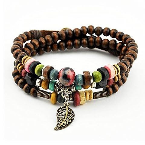 Bluegrass vintage pendentif feuille Tibeten Couleur des brins en perles de bois fait main Bracelet
