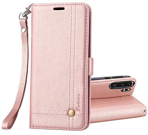 Ferilinso Cover per Huawei P30 PRO, Custodia Cover Pelle Elegante retrò con Custodia Slot Holder per Carta di Credito Custodia di Chiusura Magnetica per Flip (Oro Rosa)