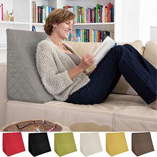 sabeatex Rückenkissen, Keilkissen für Couch und Sofa, Lesekissen für Bequemes Sitzen. 5 Unifarben für Trendiges Wohndesign. Louge-oder Palettenkissen Größe 60 cm x 50 cm x 30 cm (grau) - Großes Sofa-kissen