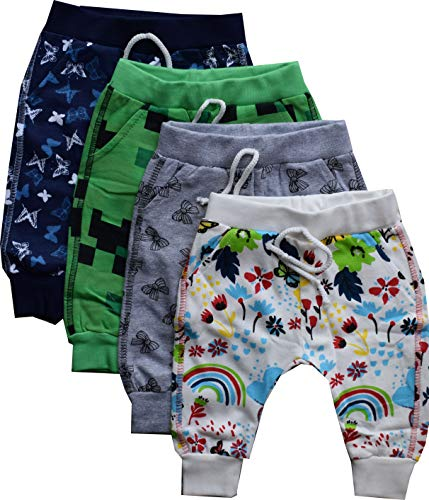 NammaBaby Baby Pajama Print Hem Full Length Lounge Pants Cotton Thick Pants - Set of 4 (Multicolor, 2-3 Years)