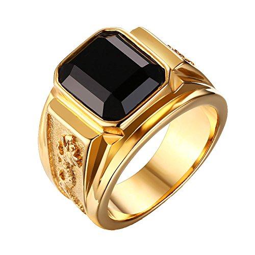Heyrock Black Square Carved Stone Rings for Men Gold gebraucht kaufen  Wird an jeden Ort in Deutschland