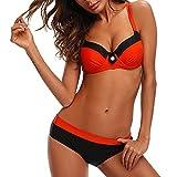 Bikini Mujer Push-up con relleno Grueso con Acero Acolchado Bra Trajes de baño dos Piezas Color Vario con Talla Grande Naranja Medium