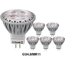 Azhien GU4 MR11 Bombillas LED Blanco Caliente 12V 3W Reemplazado 20W 30W 35W Halógeno Bombilla 2700K Blanco Suave 250 Lumen 38 Grados Beam Ángulo paquete De Lámparas De 6 [Clase De Energía A+]