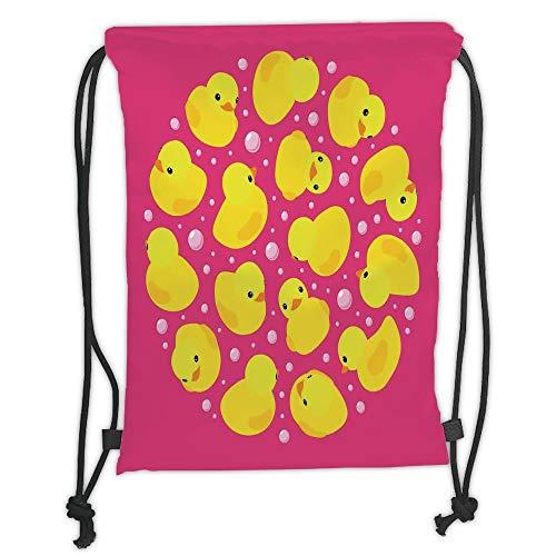 LULUZXOA Gym Bag Printed Drawstring Sack Backpacks Bags,Rubber Duck,Fun Baby Duckies Circle Artsy Pattern Kids Bath Toys Bubbles Animal Print,Pink and Yellow Soft Satinr