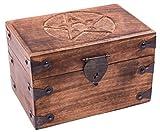 """Schatztruhe """"Pentagramm"""", Geschenkbox aus massivem Holz, mit geschnitztem Motiv 20x11x12cm"""