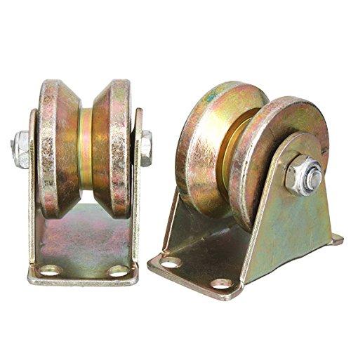 Gate Roller (ChaRLes 2pcs 660lb 2 Zoll V Type Wheel Schiebe Gate Roller Steel Radspur Schiene mit Halterung Kasters MaschinenTeile)