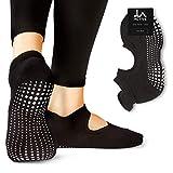 LA Active Calze Presa Antiscivolo Cotone - Per Yoga Pilates Danza Sbarra - Ballet (Noire Black, 40.5-44 EU)