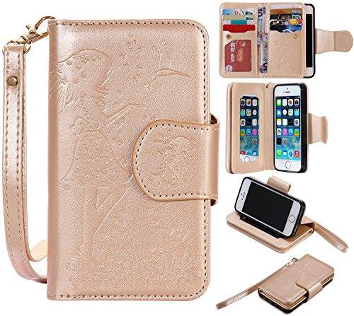 iPhone Case Cover Gepresste Blumen Geprägte Mädchen und Katzen-Muster PU-Leder-Kasten-Abdeckung mit Handschlaufe und 9-Karten-Slot-Foto-Rahmen für IPhone 5S SE ( Color : Pink , Size : IPhone 5S SE ) Gold