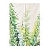 SHUNSHUNML Japanischer Vorhang Pflanzenserie Palm Leaf Vorhang Wohnzimmer Trennwand Vorhang Vorhang Baumwolle Und Leinen Dekorative Haus Feng Shui Vorhang Benutzerdefinierte 85 × 120 cm Karte