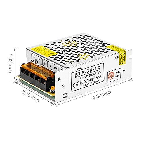 BTF-LIGHTING DC12V 3A 36W Aluminum Netzteil DC/AC Adapter Led Transformator  Schalter, Treiber für LED Licht Streifen
