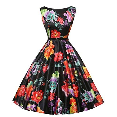 (OverDose Frauen faschingsball kleider Vintage karneval Party Kleid Damen 50s Retro Vintage Rockabilly Kleid Partykleider Cocktailkleider)