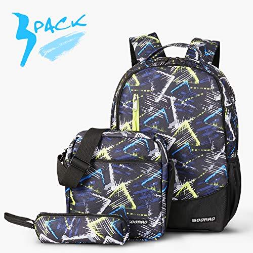 SOOHAO Schulrucksack Jungen Teenager Schulranzen Mädchen Schultaschen Set 3tlg Jugendliche Schule Daypacks Kinder Schultasche Wasserdicht Rucksuck fur 15 Zoll Laptop(Blau)