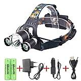 WolfWay 3XLED CREE XM-L T6 5000Lm wasserdichte Kopflampe mit 4 Modi Stirnlampe Taschenlampe Fackel + 2x4200mAh 18650 Akkus + AC Charger + Auto-Ladegerät für Camping Biking Jagd Angeln
