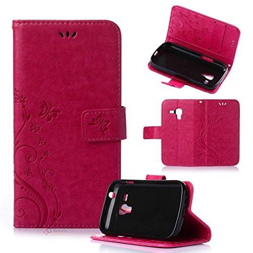 Beiuns Étui en Simili cuir pour Samsung Galaxy Trend S7560 / Galaxy S Duos S7562 Housse Coque - R155 rouge (NON compatible avec Trend Lite S7390 / S7392)