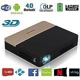 Videoprojektor DLP Beamer 3D 2000 Lumen Android 4.4 WIFI Bluetooth HD Projektor Heimkino mit HDMI USB TF Audio für iPad Laptop Smartphone PS4 PS3 Lautsprecher