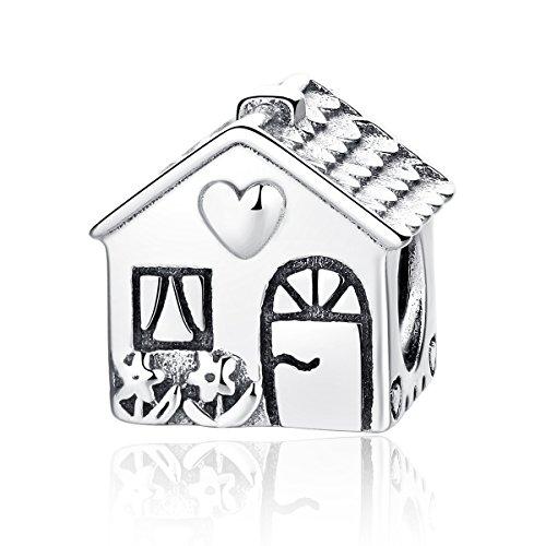 Ciondolo a forma di graziosa casetta, in argento sterling 925, compatibile con bracciali pandora