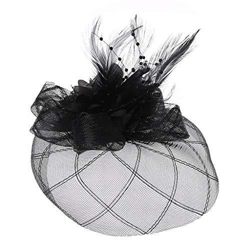 Manyo Womens Barrette Fascinator Blume Pillbox Hut Perlen Feder Haarspange Hochzeit (Schwarz)